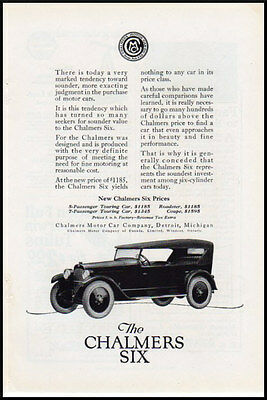 1920s vintage automobile ad for Chlamers Six Canadian auto-1092