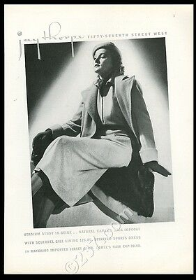 1936 Jay Thorpe NYC woman in camel hair coat photo vintage fashion ad