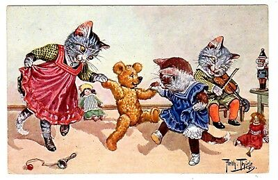 Postcard Thiele Cats With Teddy Bear F.e.d. Series 474