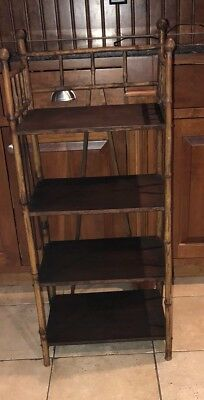 CHINESE BAMBOO SHELF Bookshelf Antique Shelving Unit Wood
