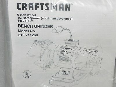 Astounding Craftsman 6 1 3 H P 3450 Rpm Bench Grinder 319 211260 Lamtechconsult Wood Chair Design Ideas Lamtechconsultcom