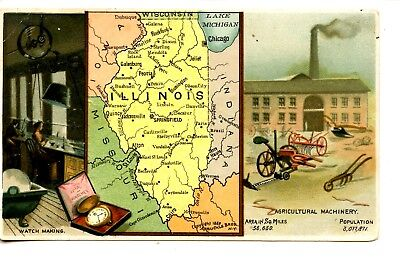 Illinois State Map-1889-Arbuckle Bros Coffee-Victorian Advertising Trade Card