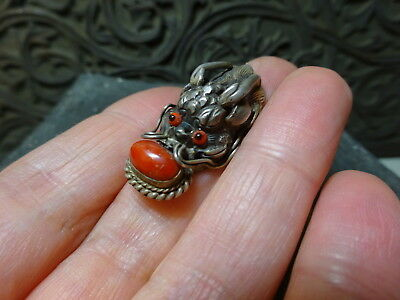 Vintage Bhutan Dragon Red Coral & Silvered Metal Ring