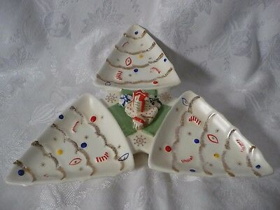 Vintage Napco 1962 Christmas Tree Divided Tray ~ 3 Sections