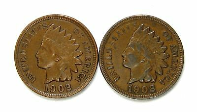 Lot of 2 1902 1c Indian Head Cent Pennies AU Almost Uncirculated / AU+ #129747*
