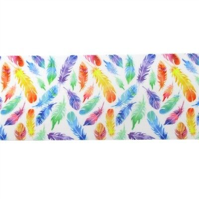Grosgrain Ribbon - 3 Inch - 75 mm - Print by the Metre - Feathers
