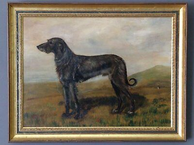 """1911 Oil Painting of Irish Wolfhound """"Jim"""" by J. Foster with pedigree"""