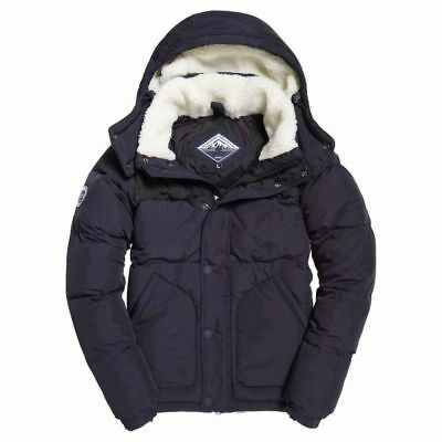 Superdry Men's Navy Blue SD Expedition Puffer Full Zip Hooded Jacket