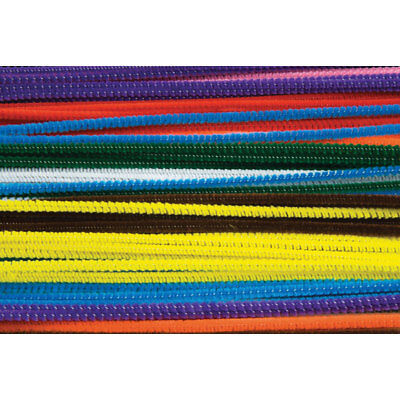 RVFM Pipe Cleaners, 300mm x 4mm, Assorted Colours - Pack of 100