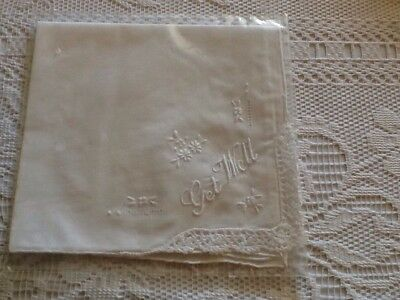 """Ladies White Cotton Embroided Handkerchief With Lace """" Get Well """""""