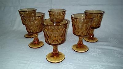 Retro Vintage Medium Amber Glass Goblets X 6 Usa