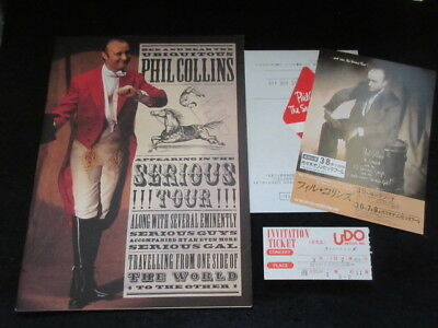 Phil Collins Signed 1990 Tour Book w Japan Ticket Flyer Pass Genesis Seriously