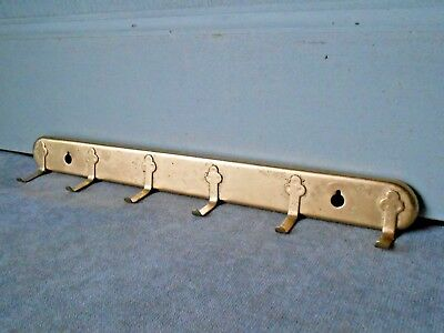 Vintage french gilded metal KEY Towel  RACK HANGER w/ 6 hooks