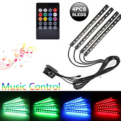 7-Color RGB LED Neon Strip Light Music Remote Control For Car Interior Lighting