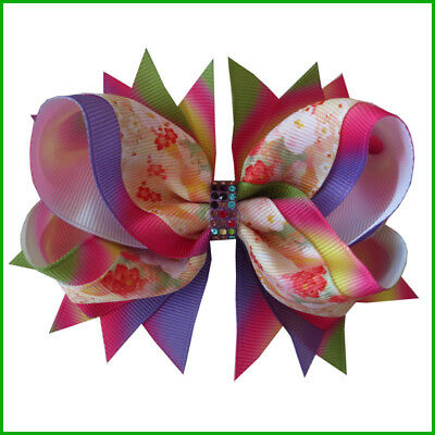 """12 BLESSING Baby Boutique 4.5"""" Maple Leaf Hair Bow Clip 90 No. Wholesale Custom"""