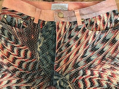 Orig. Roberto Cavalli Jeans -  Gr.S / rot, bunt , Glitter & Glam, Ibiza - Style