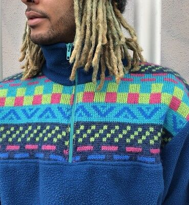 VINTAGE 90's Unisex Bright Neon Aztec Zip Neck Fleece Sweatshirt Festival