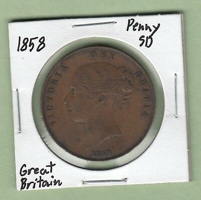 1858 Great Britain One Penny Copper Coin - Small Date - VF