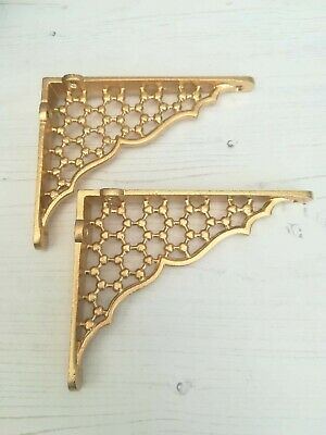"Pair Small Gold Cast Iron Honeycomb Shelf Brackets 6""x 5""  Antique"