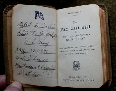Early Date 1941 Wwii Ww2 U.s. Army New Testament Bible Named To Soldier & Unit