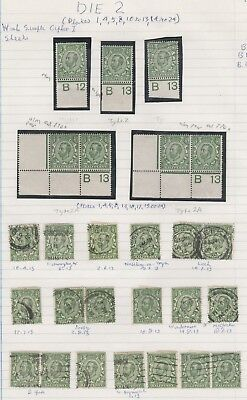 1911/12 DOWNEY HEAD 1/2d GREEN SHADES MINT & USED COLLECTION ON 3 PAGES CONTROLS
