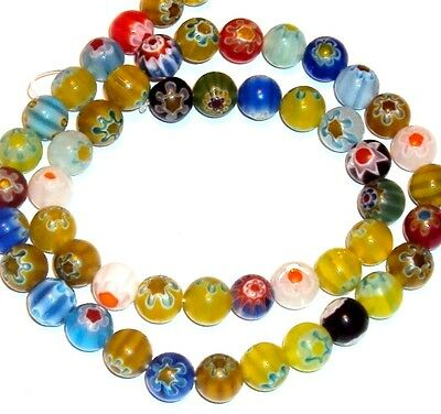 """G860 Assorted Color Mixed 8mm Round Millefiori Flower Glass Beads 15"""""""