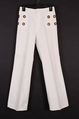 Vtg 70S White Cotton Bellbottom Flare Jeans Pants Womens Size 26X30