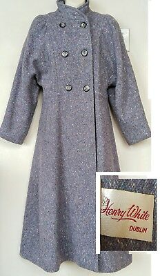 HENRY WHITE Dublin Womens Vintage Wool Tweed Coat Victorian Lk Blue-Gray M 8 10