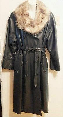 Xl Xxl 18 20 22 1X 2X New $2500 Leather Black Womens Trench Coat Fur