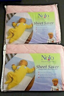 New Set of 2 NoJo Baby Quilted SHEET SAVER Crib Protector Waterproof Back PINK