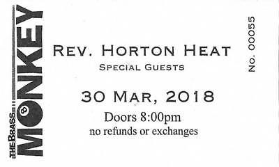 Rev. Horton Heat Psychobilly Country Ottawa Canada 30.03.2018 Used Ticket