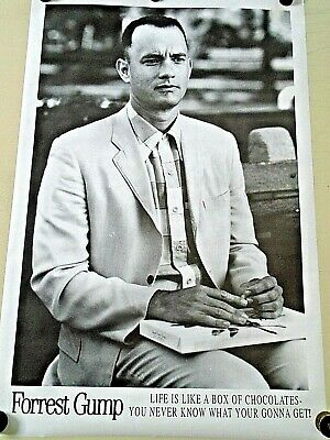 """Forest Gump / Tom Hanks / Orig. B&W UK Poster / Exc. new cond. size 25 x 40"""""""