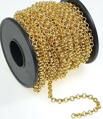 32 Foot Spool Gold Plated Brass Bulk Rolo Belcher Chain with 3.9mm Links