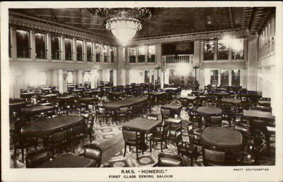 Steamship RMS R.M.S. Homeric First Class Dining Real Photo Postcard c1915