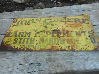 Vintage ORIG JOHN DEERE JD Farm Tractor Machinery Tin Embossed Advertising SIGN