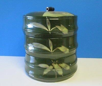 Antique Japanese Lacquerware Lidded Wooden 3 Tiered Tea Caddy ? Container