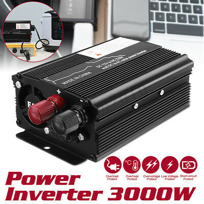 3000W Car Solar Power Inverter DC 12/24V To AC 110V/220V Sine Wave Converter