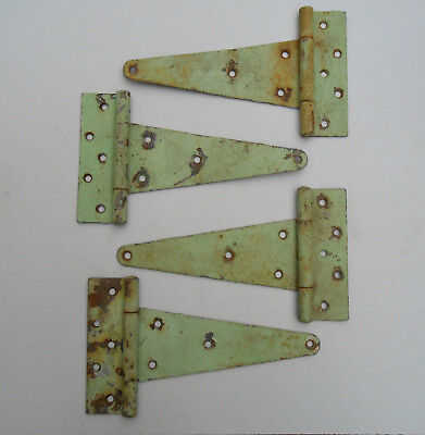 4 Old Cast Iron Gate Barn Shed Door Hinges Rusty Chippy Green Paint Lancaster PA