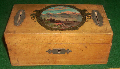 Small Antique English Wooden Marquetry Alms Box with Key England