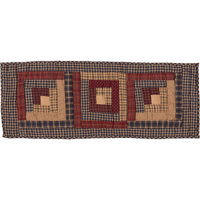 """New Primitive Americana Navy Red LOG CABIN QUILTED Patchwork Table Runner 36"""""""