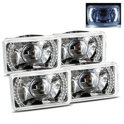 (4 Lamps System) 4x6 H4656/4666 Semi-Sealed Beam White LED Projector Headlights