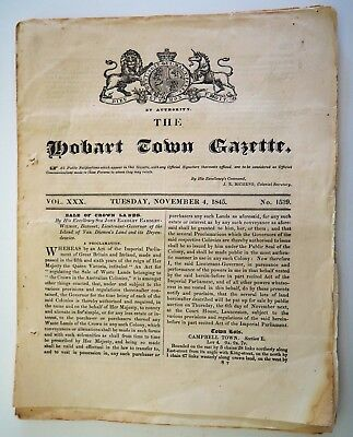 HOBART TOWN GAZETTE  - Original 4th November 1845  No 1539