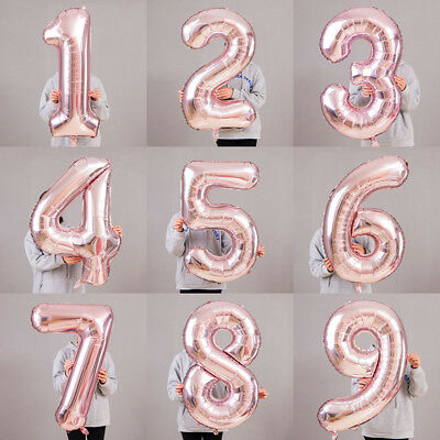 """32"""" 40"""" Giant Foil Number Air Helium Large Balloons Birthday Age Party Wedding R"""