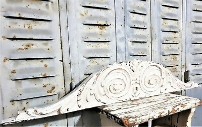 """Scroll Leaves Shabby Painted Pediment 28"""" Antique French Hand Carved Wood Crest"""