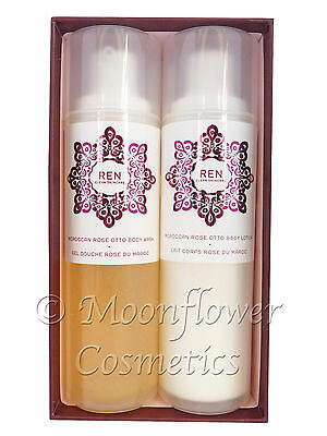 REN Moroccan Rose Otto Body Wash & Body Lotion Boxed Gift Set - 2 x Large 200ml