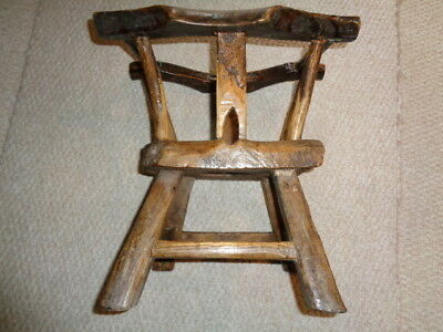 Rare early 1800's antique primitive hand carved wood childs potty chair seat