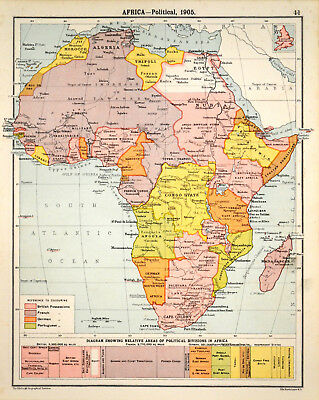 AFRICA - POLITICAL 1905 Robertson & Bartholomew ANTIQUE MAP