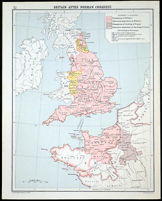 BRITAIN AFTER NORMAN CONQUEST 1905 Robertson & Bartholomew ANTIQUE MAP