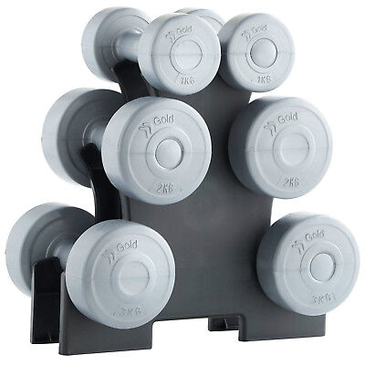 12kg Vinyl Dumbbell Set with Pyramid Stand Free Weights Set Weight Training Gym