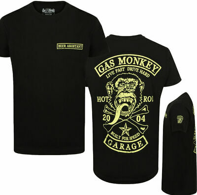Official Gas Monkey Garage Mens Patch T-Shirt Beer Assistant Deluxe Version GMG